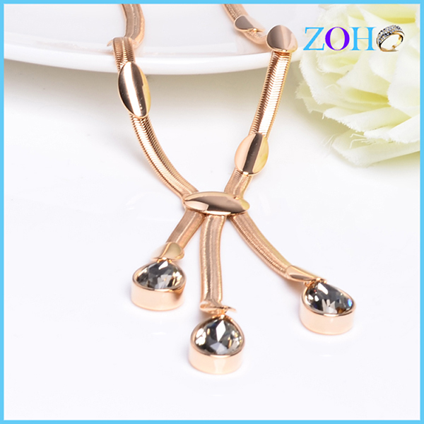 Fancy costume necklace chain gold plating necklace and charms jewelry accessories