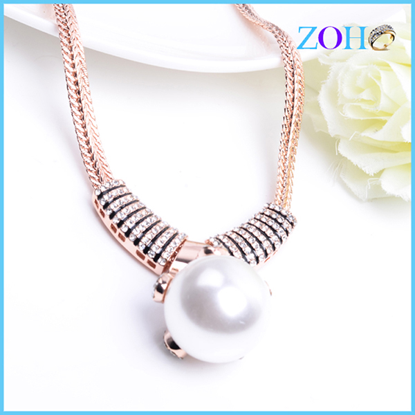 Elegant gold plating freshwater pearl necklace pearl pendant designs favors gift