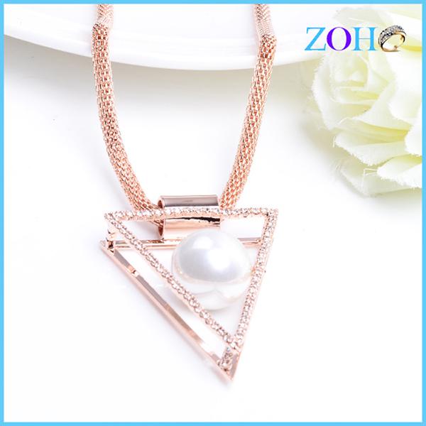 精致三角形珍珠项链 女士项链 厂家批发