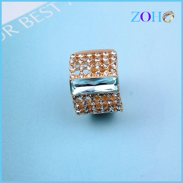 New Fashion Rhinestone And Blue Glass Diamond Women Elegant Engagement Finger Ring