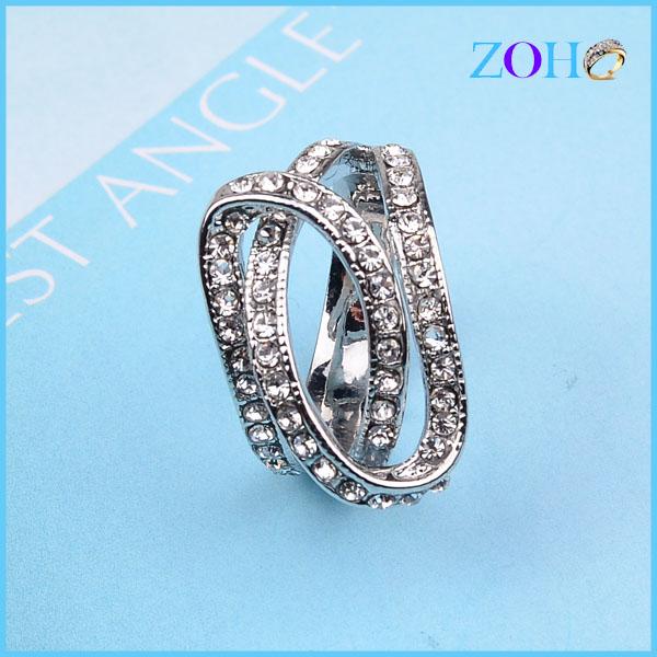 厂家库存饰品 欧美风饰品 合金水钻个性戒指白金电镀戒指 夸张女士戒指