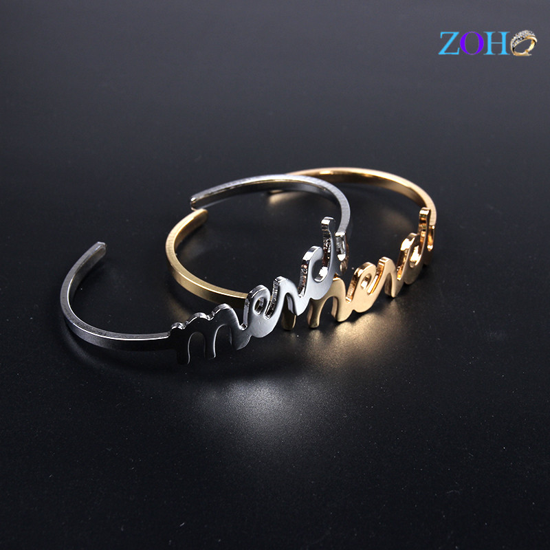 Letter Love bracelet new fashion gold color copper cuff bangles for women
