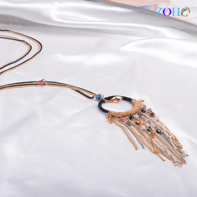 欧美创意毛衣链 时尚水晶长项链 圆圈夸张流苏项链卓和定制