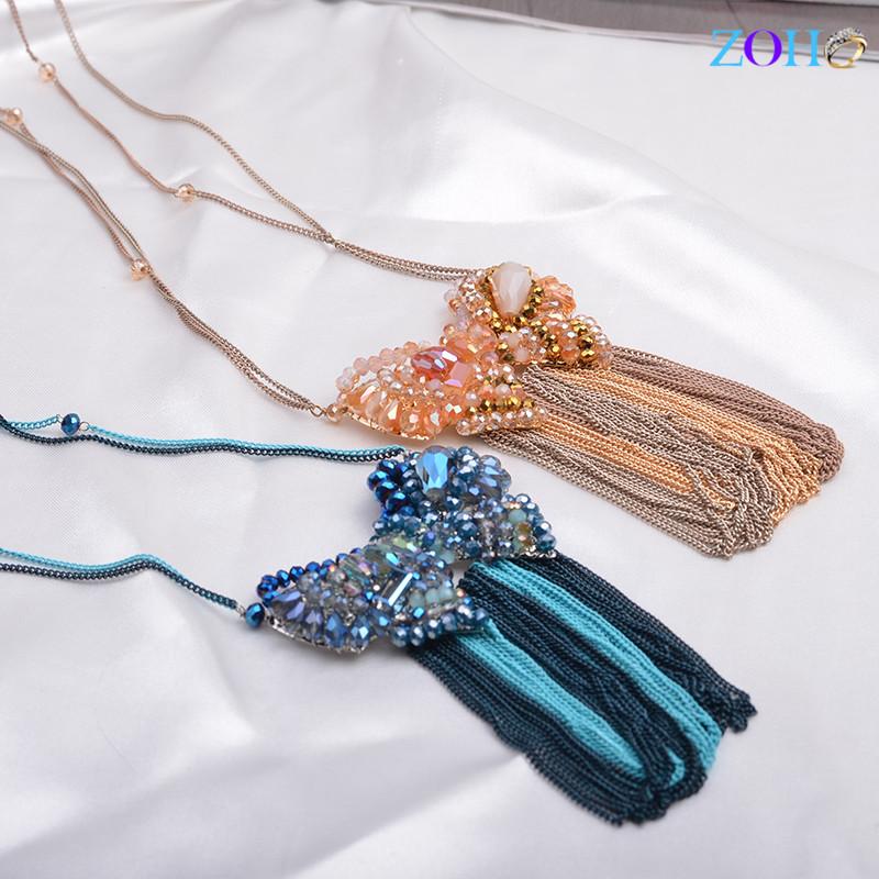 欧美创意夸张喷漆水晶毛衣链 蝴蝶结流苏长款项链 首饰定制