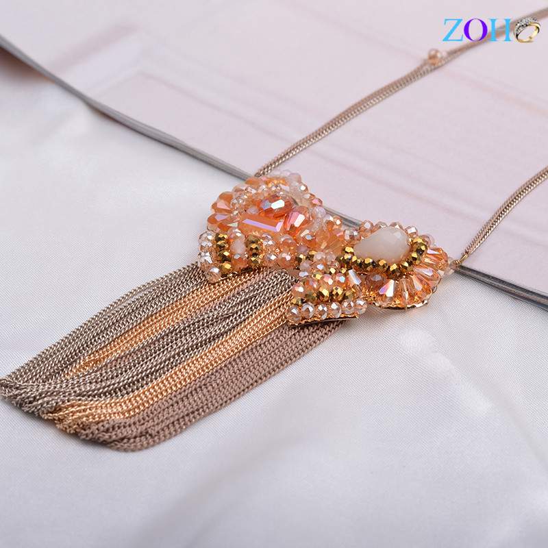 Crystal Sweater Chain Butterfly Tassel Long Necklace