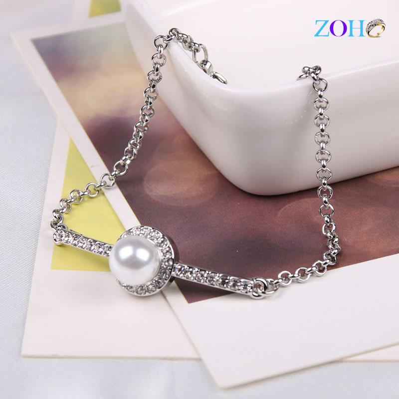 时尚简约珍珠镶钻三色手链
