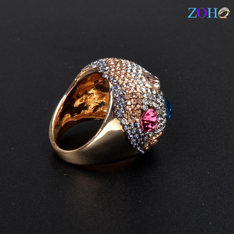 欧美时尚派对椭圆形水晶金色女性指环
