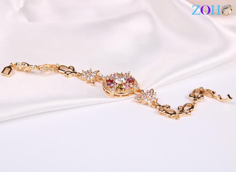 新款 彩色单层花朵款手链 可调节尺寸手环