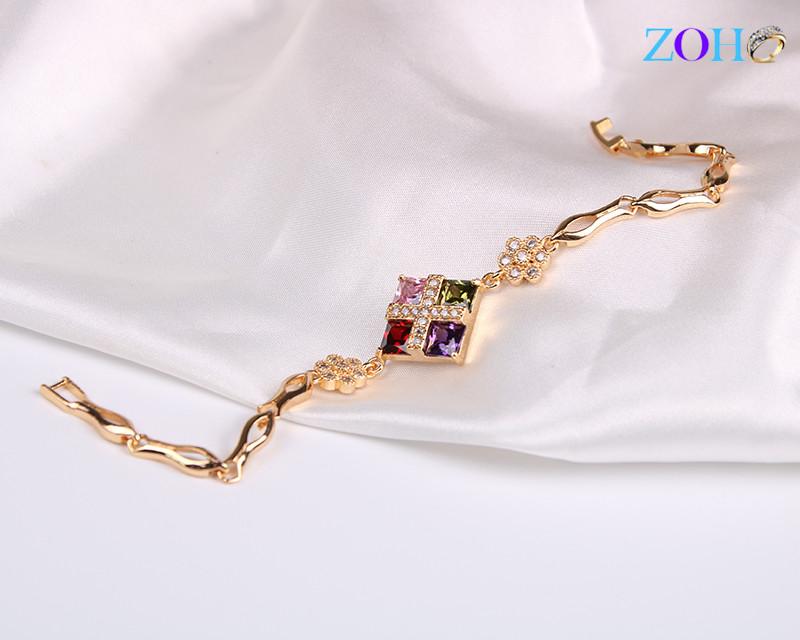 时尚流行韩版小清新手链 方形十字架微镶彩色锆石手环