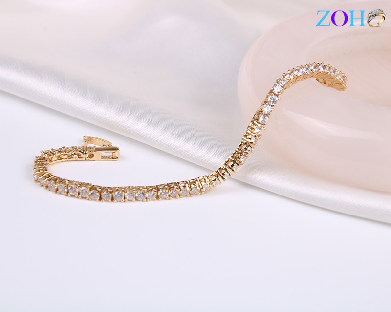 时尚流行韩版小清新白锆石手链 双环潮流微镶手环
