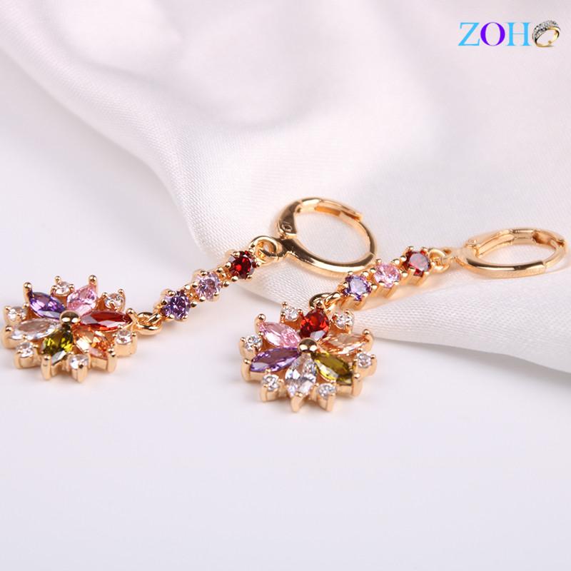 彩色镶锆石耳环女式欧美防过敏气质耳钉耳饰