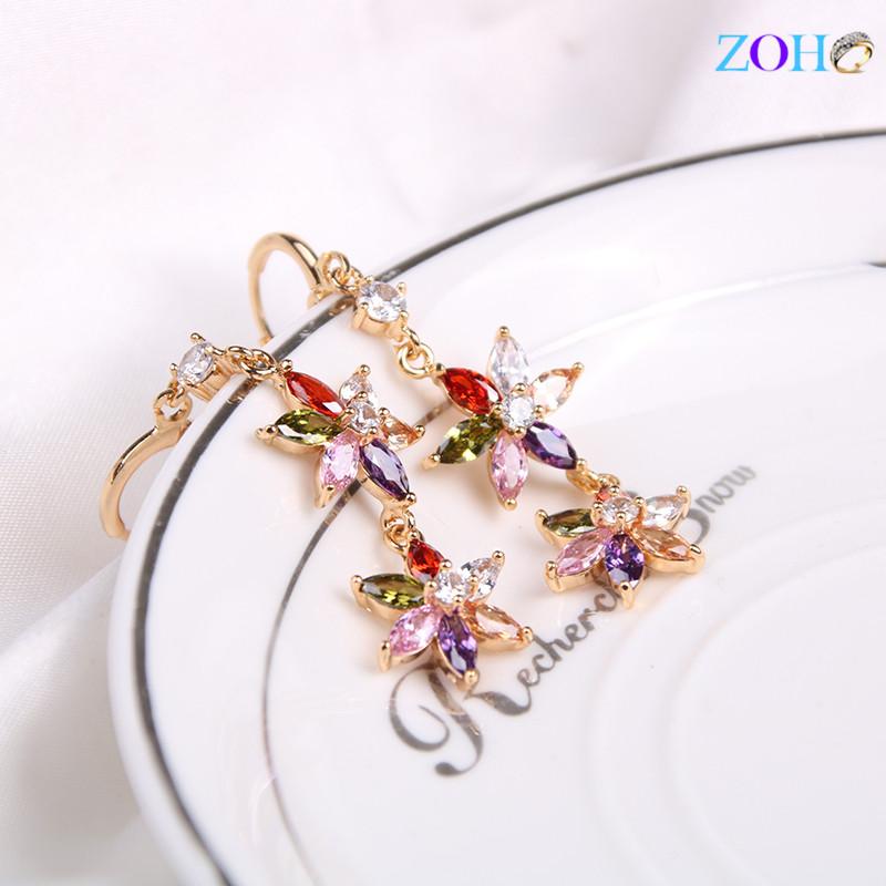 花朵镶锆石耳环女式欧美防过敏气质耳钉耳饰