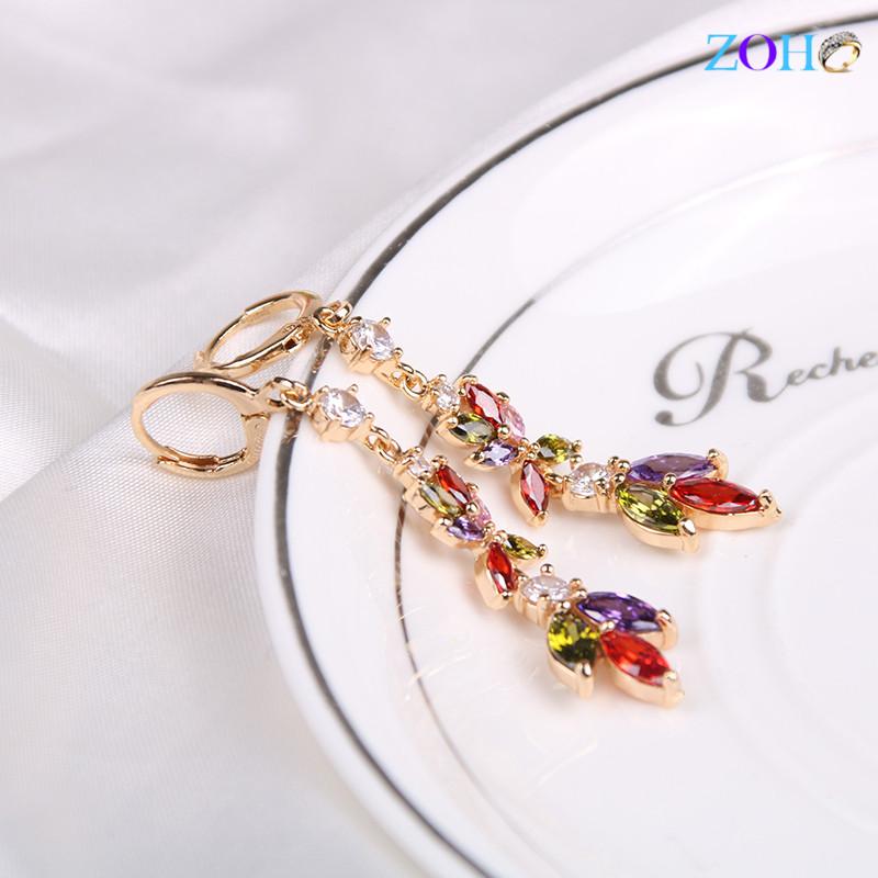 时尚饰品彩色镶锆石耳环女式欧美百搭配饰耳饰