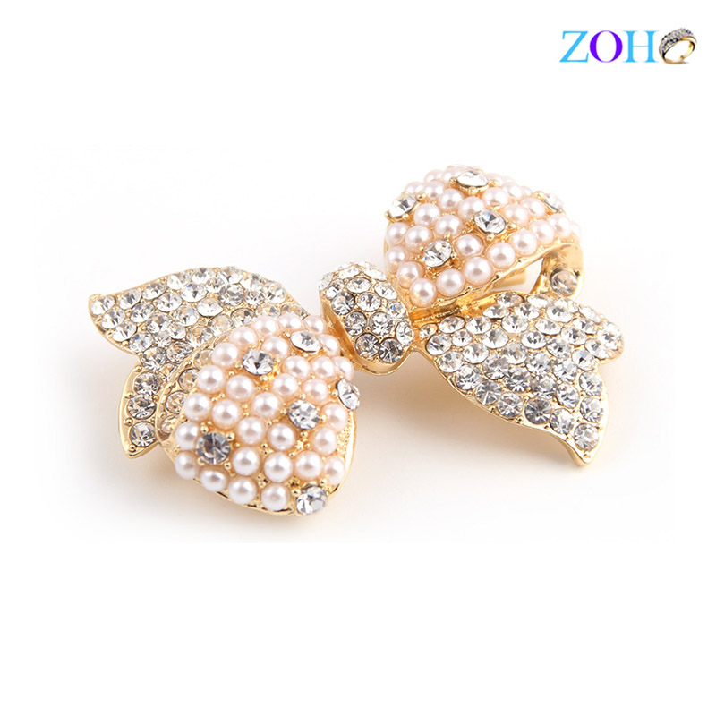 Europe and the United States bursts of foreign trade jewelry bowknot pearl diamonds fashion big pin