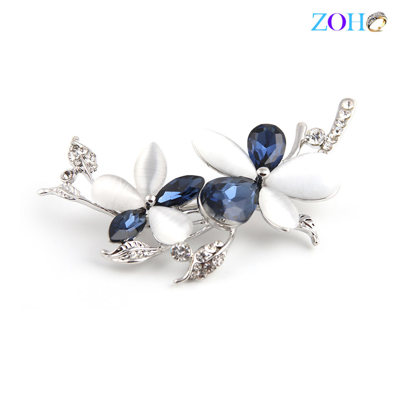 Europe and the United States bursts of foreign trade jewelry cat 's eye brooch flowers diamonds fashion big pin