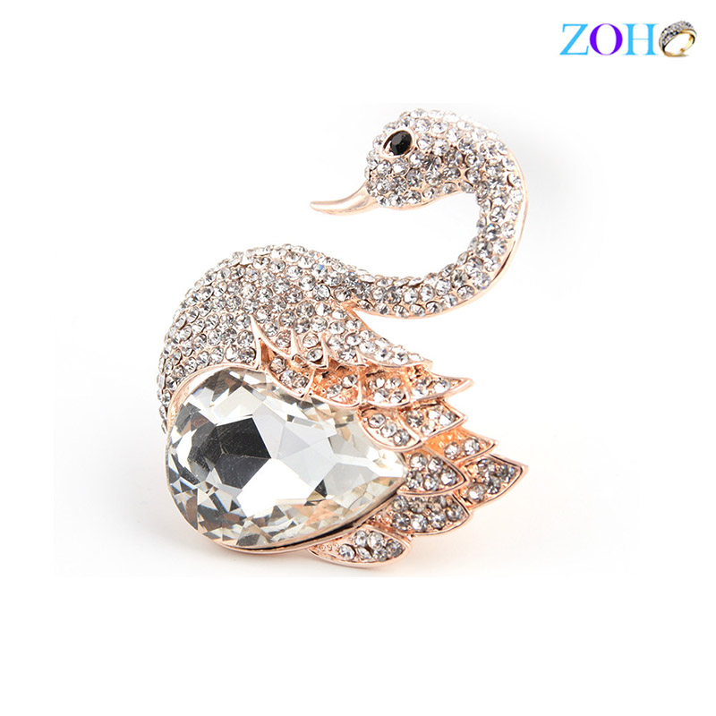 Europe and the United States explosive jewelry foreign trade jewelry Swan brooch crystal stone diamond fashion big pin