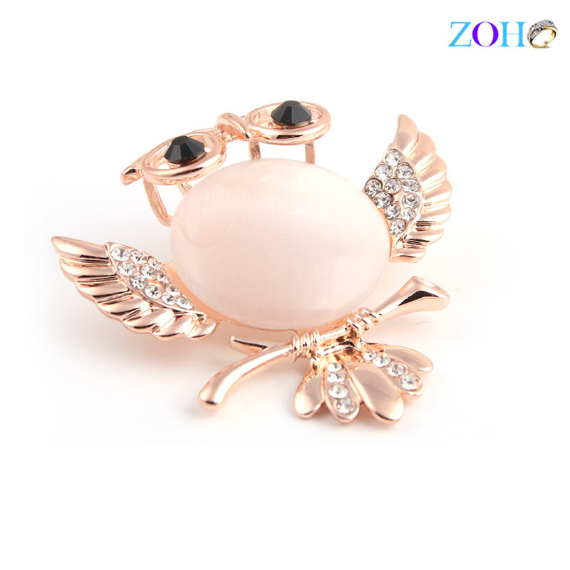 Europe and the United States bursts of foreign trade jewelry owl cat 's eye drops chest needle