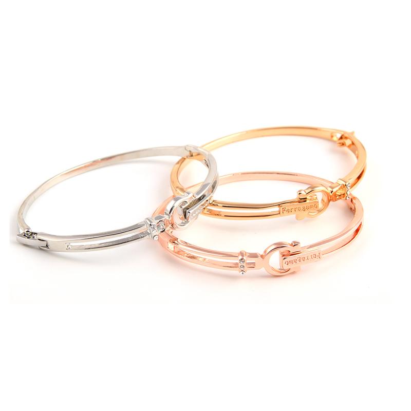 新款韩版简约时尚气质字母镶钻环形手镯手饰