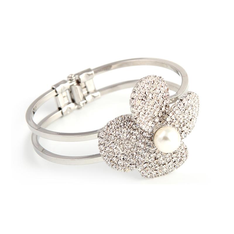 新款时尚夸张花朵珍珠镶钻手镯