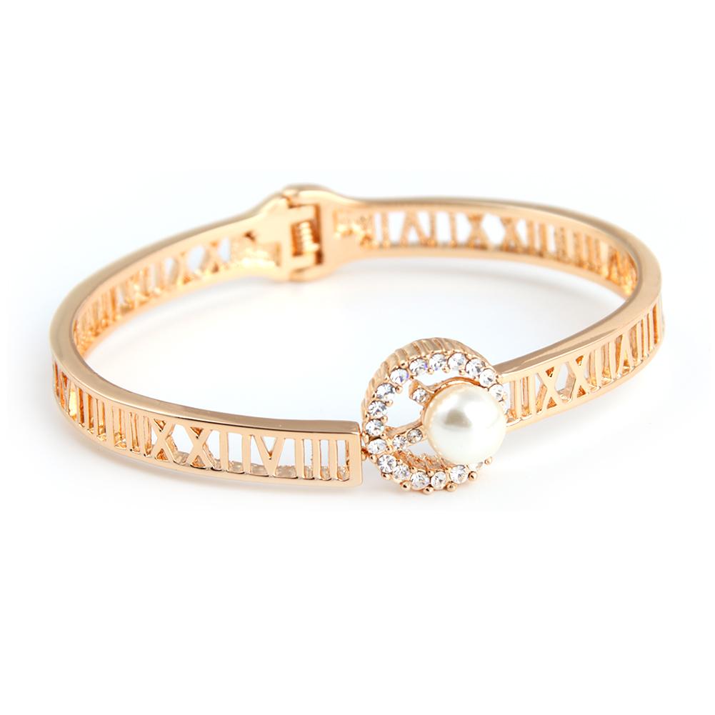 新款韩版时尚气质珍珠镂空镶钻手镯