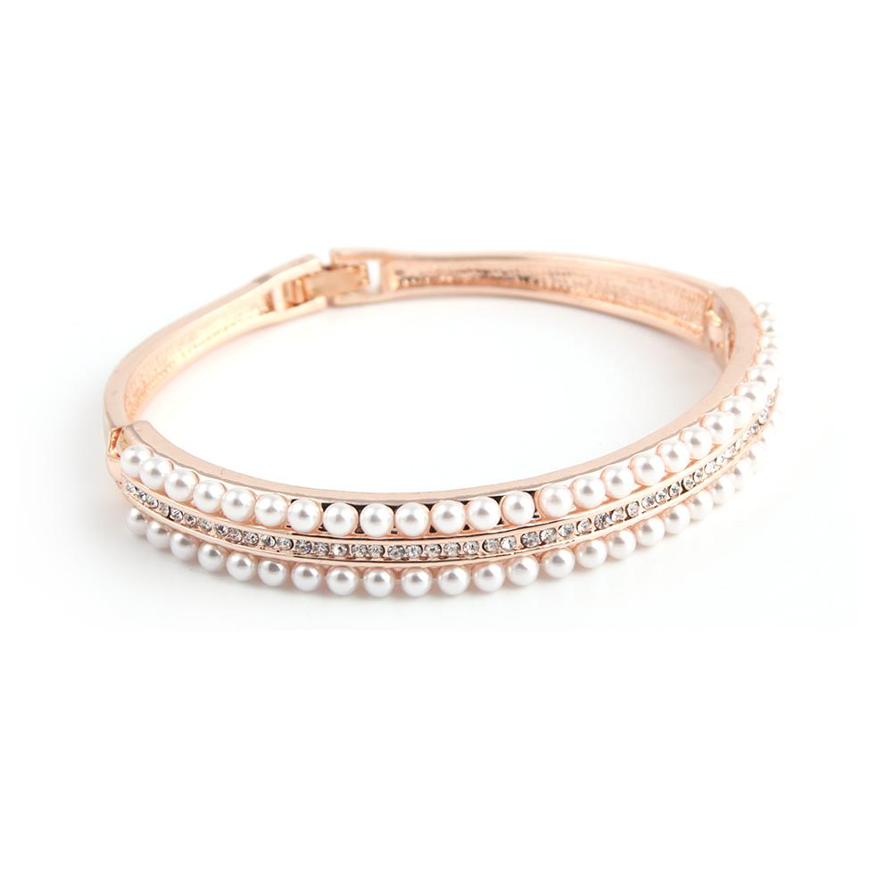新款韩版时尚玫瑰金珍珠镶钻手镯